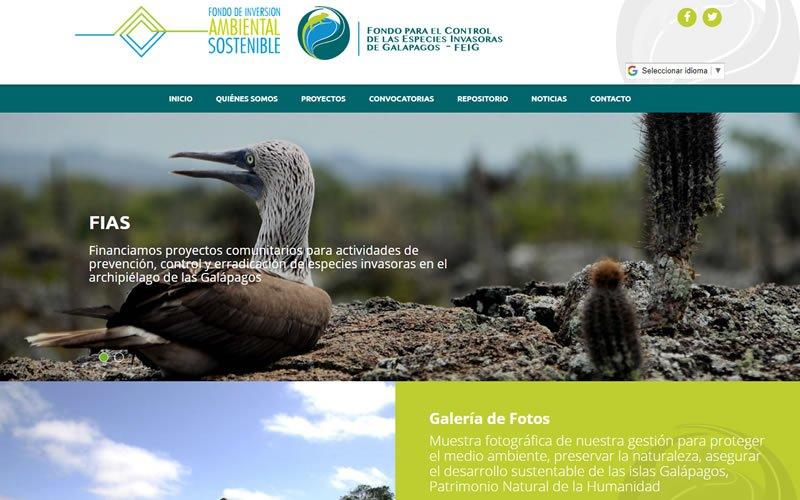 Diseño Web con Portafolio proyectos del Fondo para el Control de las Especies Invasoras de Galápagos