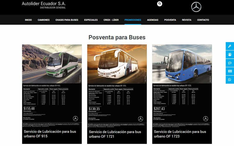 Catálogo Web de Vehículos Comerciales para Autolider Ecuador de Mercedes-Benz