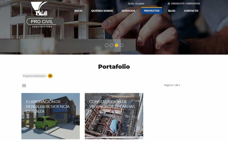 Catálogo Web de Servicios de Procivil Constructora