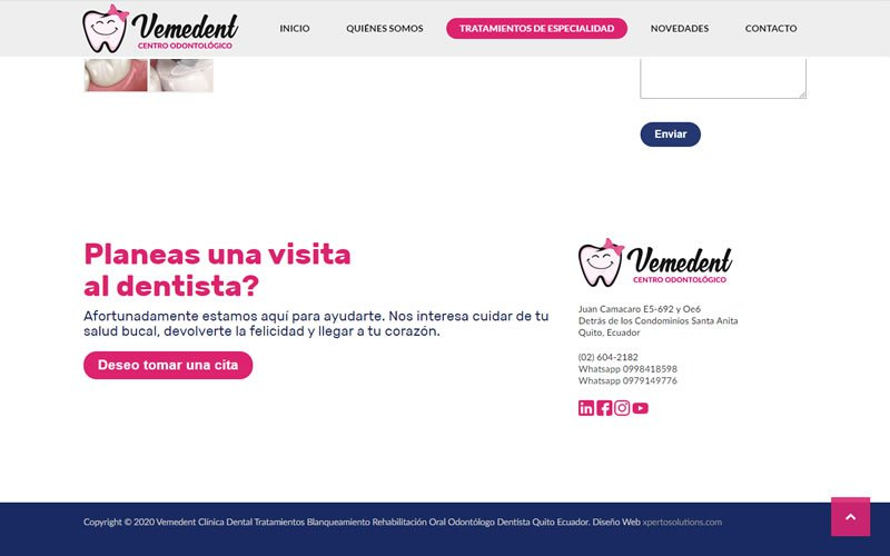 Catálogo Web de Servicios Odontológicos Vemedent