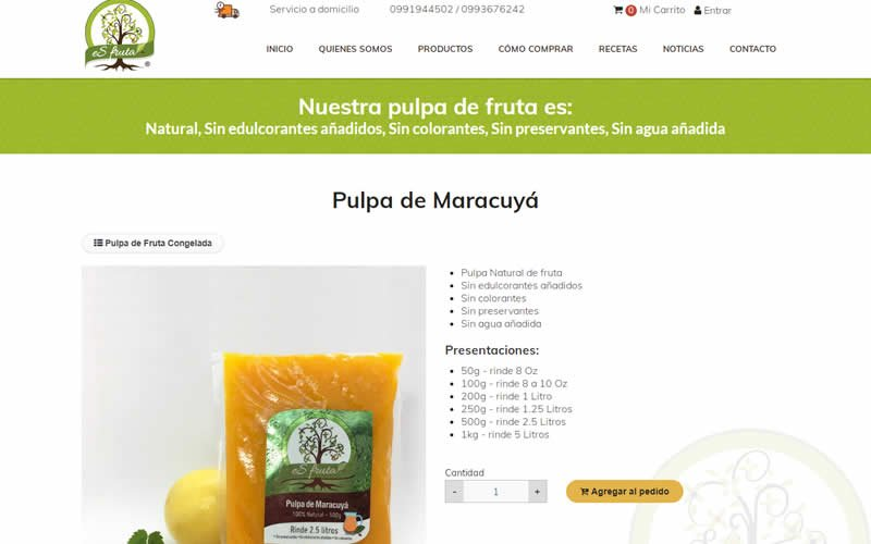 Catálogo Ecommerce de Productos de Pulpa de Fruta Esfruta, Proveedor de Pulpa de Frutas