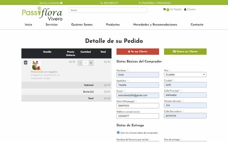 Catálogo Ecommerce de Productos para Passiflora Vivero