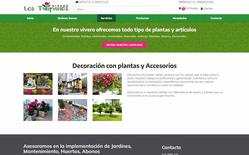 Catálogo Ecommerce de Productos y Servicios para Vivero Los Tulipanes
