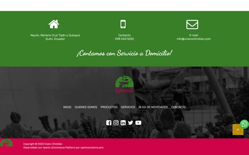 Catálogo Ecommerce de Productos y Servicios para Vivero Christian
