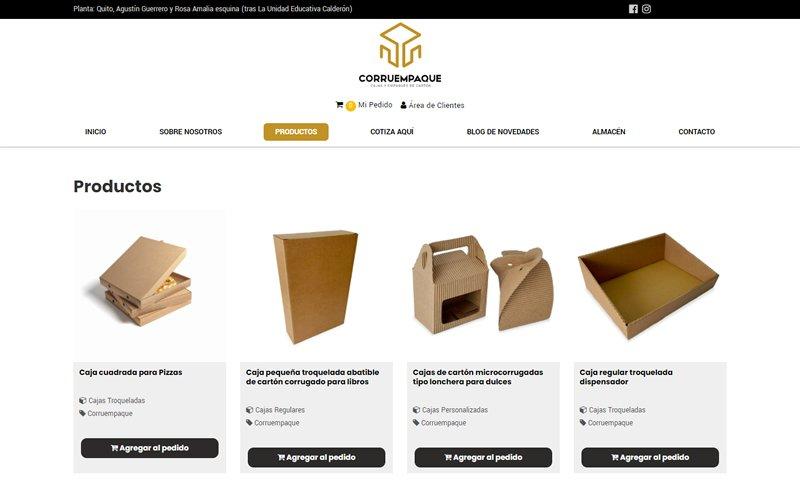 Catálogo Ecommerce de Productos y Servicios para Corruempaque Cia. Ltda.
