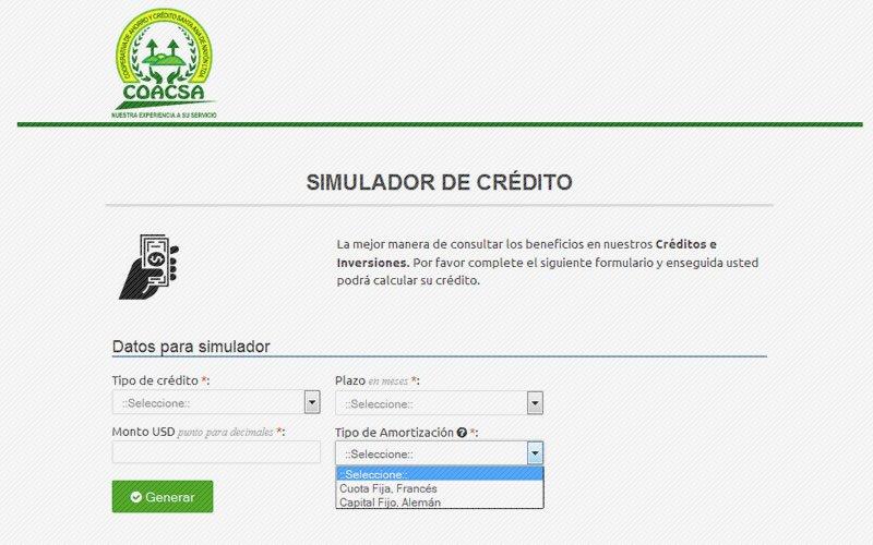 Simuladores de crédito e inversiones COACSA