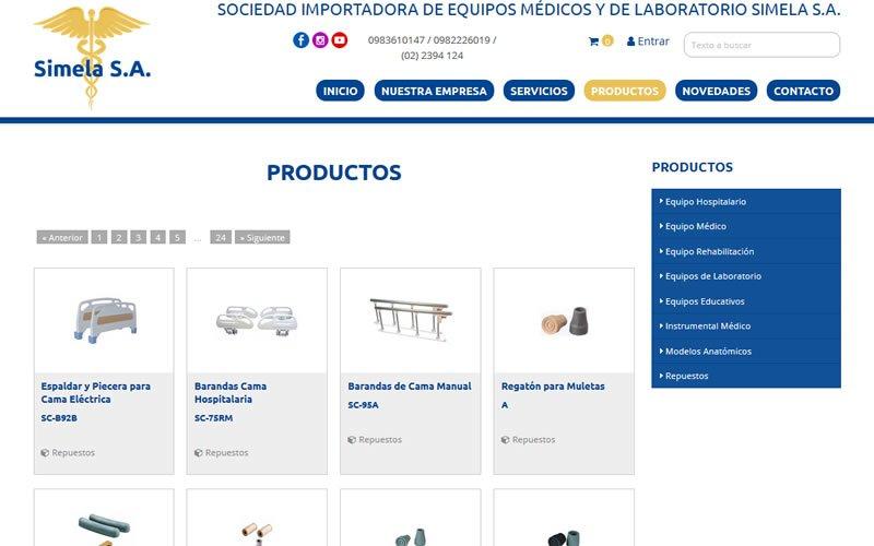 Ecommerce Catálogo Simela Importadora de Equipos Médicos