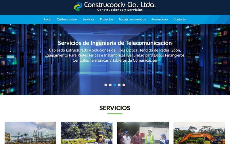 Sitio Web Corporativo CONSTRUCOOCIV Cia. Ltda.