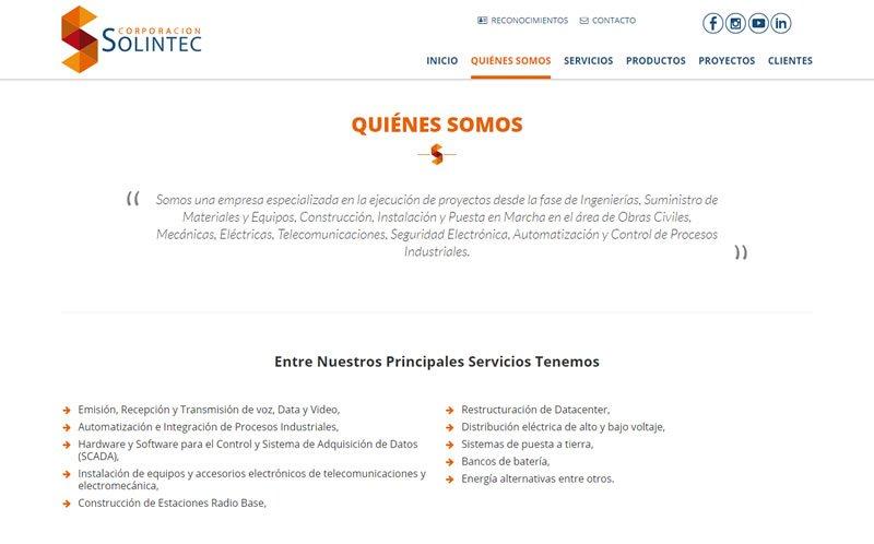 Sitio Web Corporación Solintec