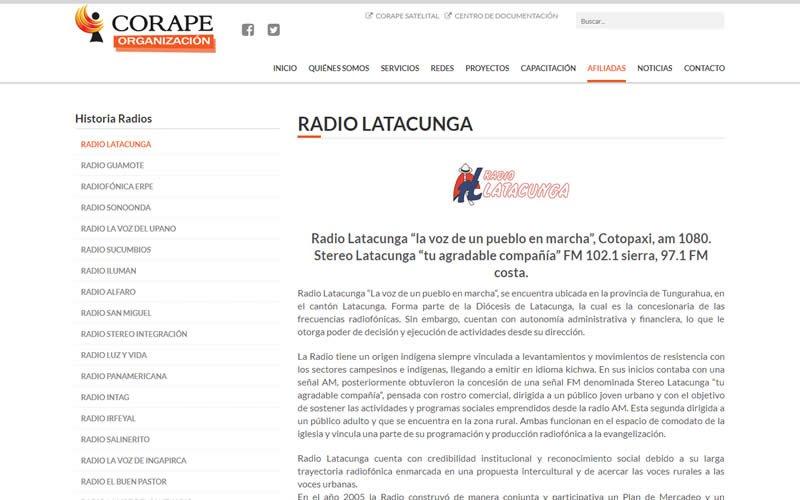 Sitio Web Corape Organización