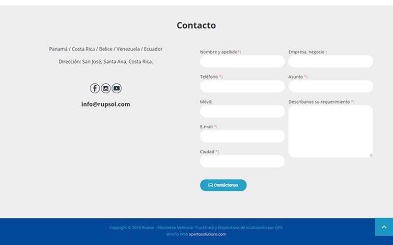 Landing Page Rupsol Monitoreo vehicular